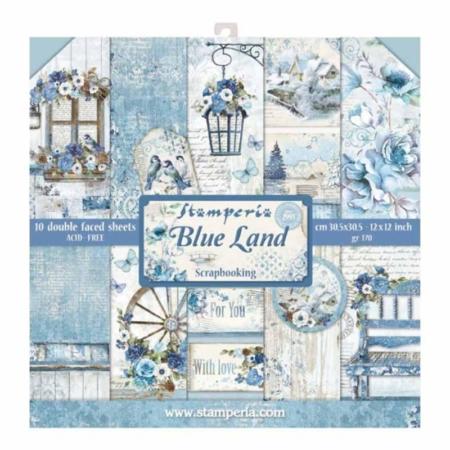 PACK 10 PAPEL SCRAP 30.5 x 30.5 CM BLUE LAND