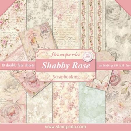 PACK 10 PAPEL SCRAP 30.5 x 30.5 CM SHABBY ROSE