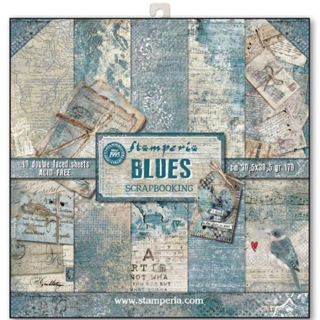 PACK 10 PAPEL SCRAP 30.5 x 30.5 CM BLUES