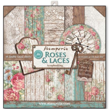 PACK 10 PAPEL SCRAP 30.5 x 30.5 CM ROSES, LACE