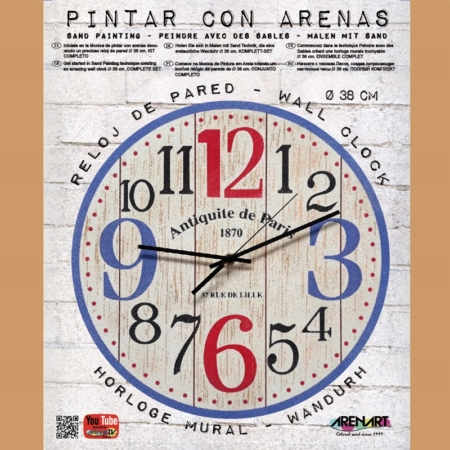KIT RELOJ PARA PINTAR CON ARENA ANTIQUE PARIS 38CM