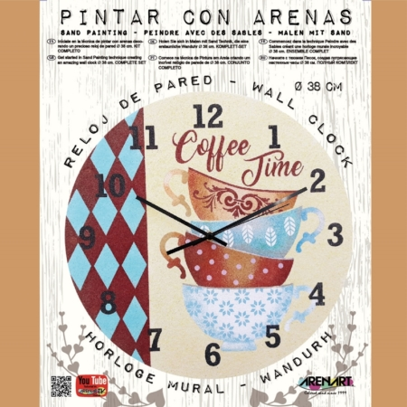 KIT RELOJ PARA PINTAR CON ARENA COFFEE TIME 38CM