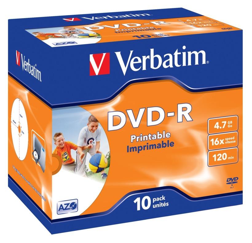 PACK 10 DVD+R VERBATIM IMPRIMIBLE 16x4,7 GB