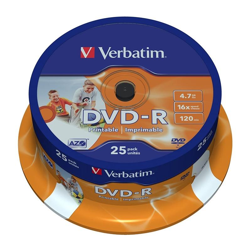 TARRINA 25 DVD+R VERBATIM IMPRIMIBLE 16x
