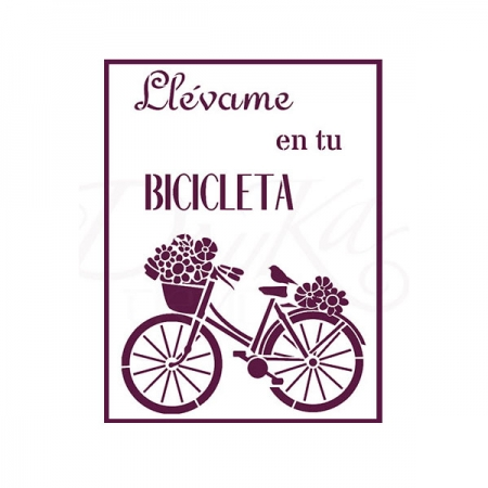 PLANTILLAS STENCIL DIN A4 Bici con Texto «Llévame en tu bicicleta»