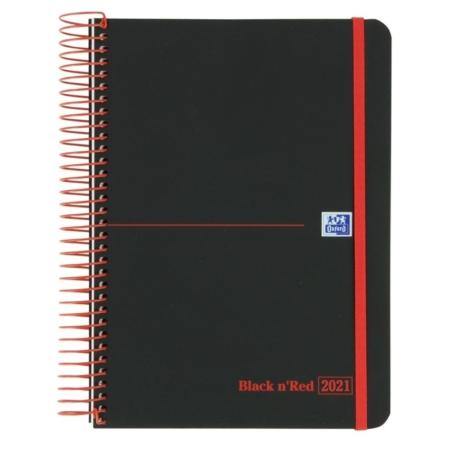 AGENDA 2021 OXFORD BLACK'N RED ESPIRAL A5 SEMANA VISTA
