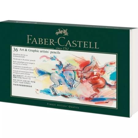 CAJA METÁLICA PARA 36 LÁPICES ARTÍSTICOS FABER CASTELL
