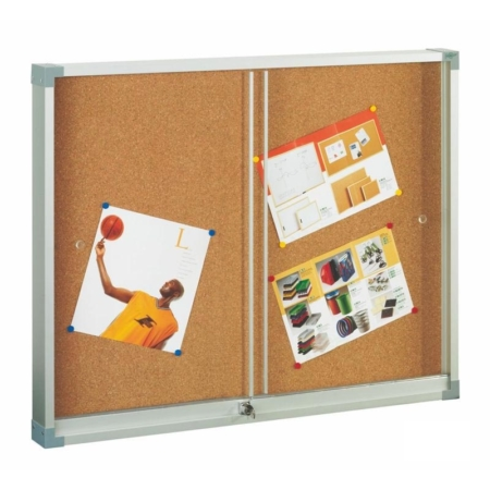 Vitrina de corcho con puertas correderas de metacrilato de 80 x 100 cm Faibo