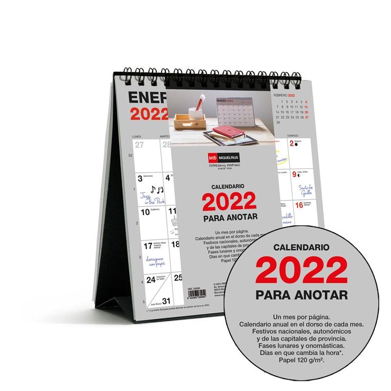 CALENDARIO SOBREMESA 140X150 PARA ESCRIBIR BASIC 2022 MIQUELRIUS