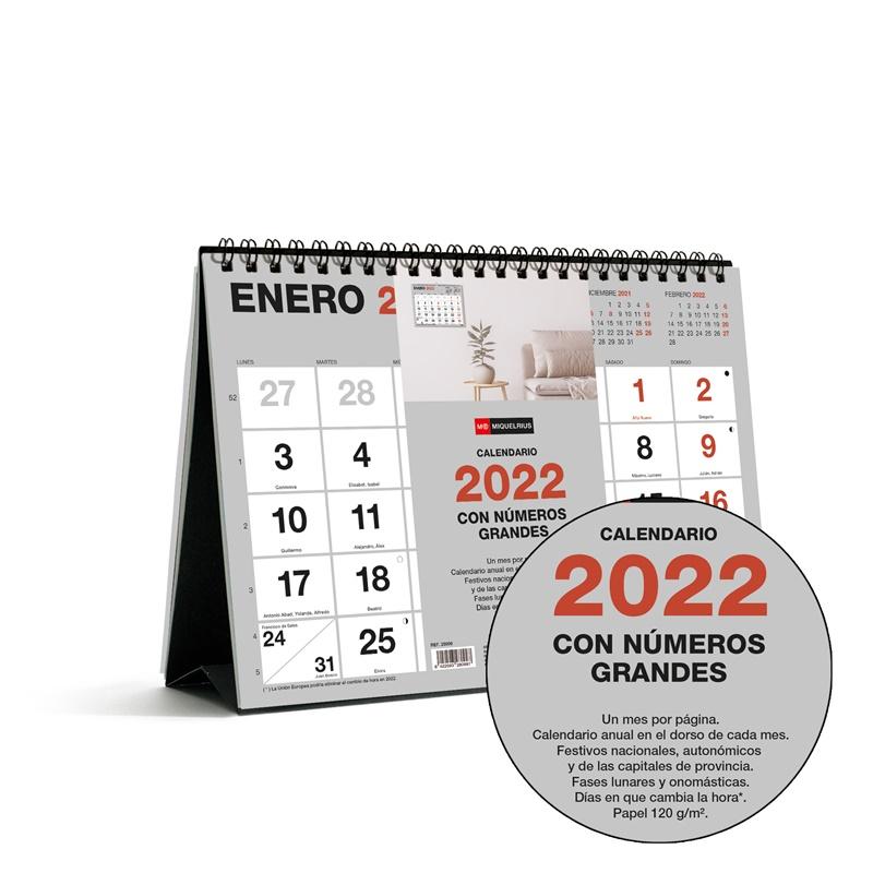 CALENDARIO SOBREMESA A5 NUMEROS GRANDES BASIC 2022 MIQUELRIUS