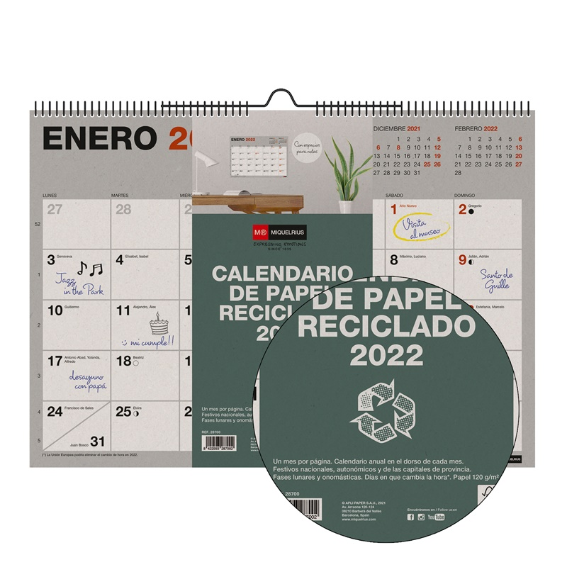 CALENDARIO PARED A3 RECICLADO 2022 MIQUELRIUS
