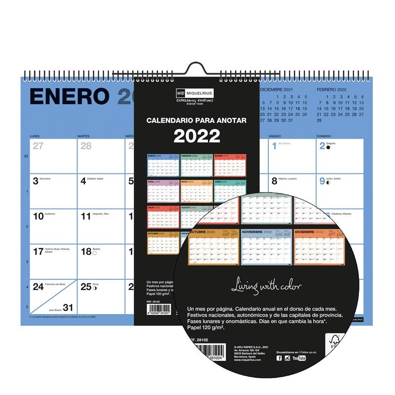 CALENDARIO DE PARED A3 CON ESPACIO PARA ESCRIBIR CHROMAT 2022 MIQUELRIUS