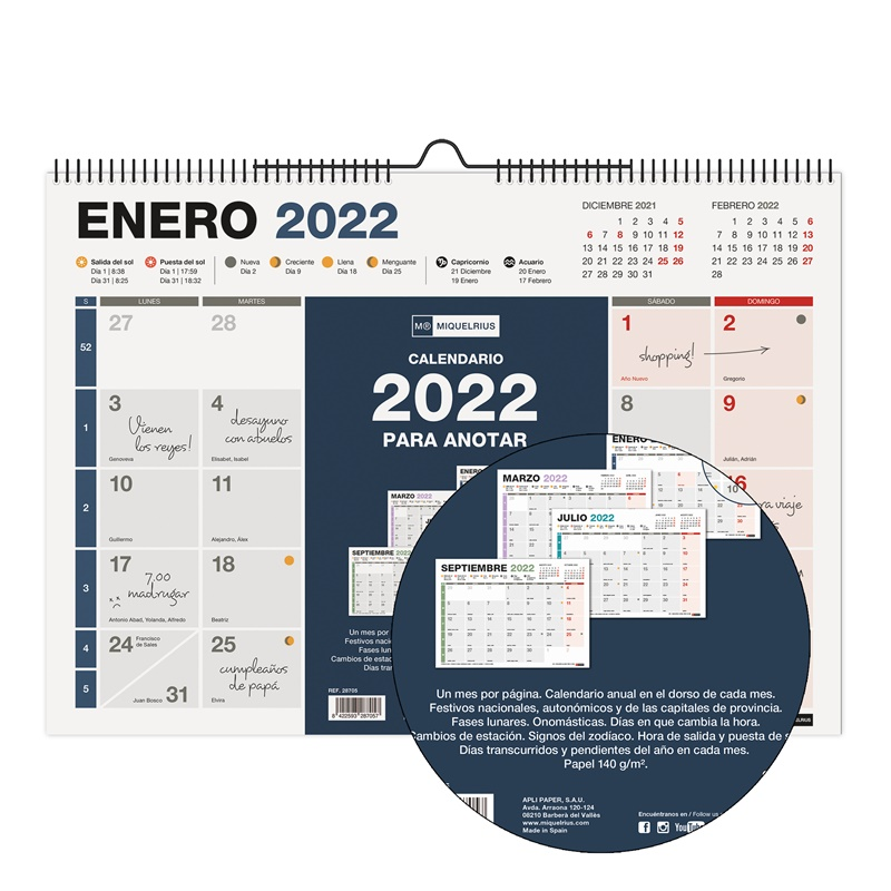 CALENDARIO DE PARED A3 CON ESPACIO PARA ESCRIBIR COMPLETO 2022 MIQUELRIUS