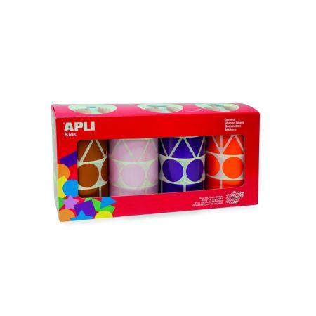 Pack de 4 rollos de gomets con formas geométricas surtidas Apli 27 mm